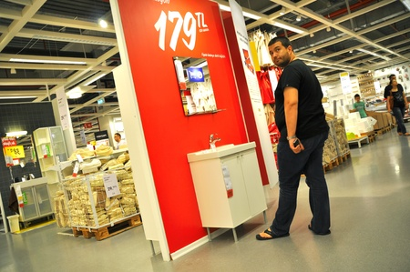 Ikea, Turkey Istanbul, home improvement store, people who shop, bathroom section Stock Photo - 11729446