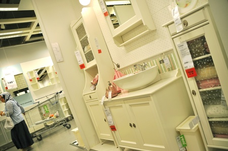 Ikea, Turkey Istanbul, home improvement store, people who shop, bathroom section Stock Photo - 11729443