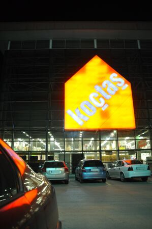 store keeper: Koçtaş Istanbul Kartal. Home improvement store, big logo Editorial