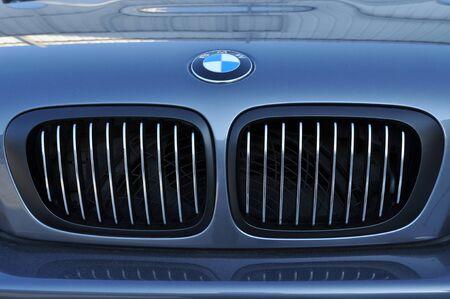 bmw: Close-up BMW logo. Chrome metal Editorial