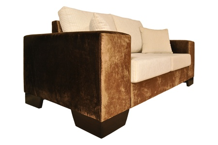 Beige and brown sofa isolated on white background Stock Photo - 12576591