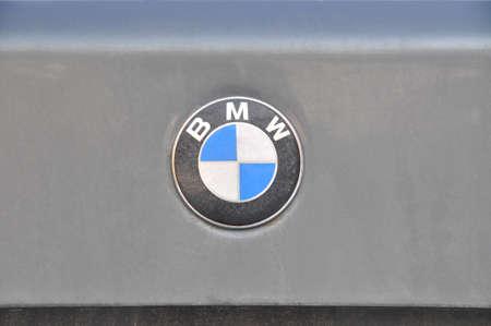Close-up BMW logo. Chrome metal