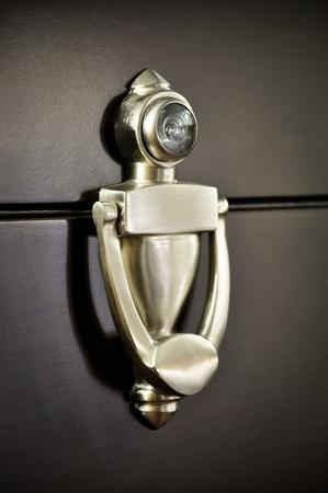 Wooden doors and metal door handle Stock Photo - 12744176