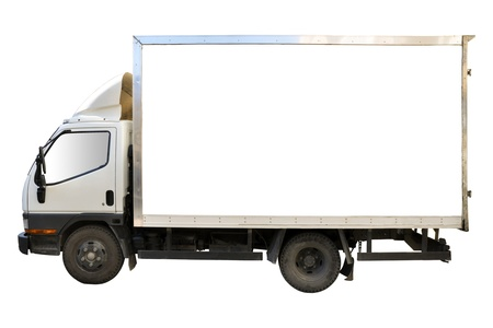 Blank white truck isolated on a white background photo
