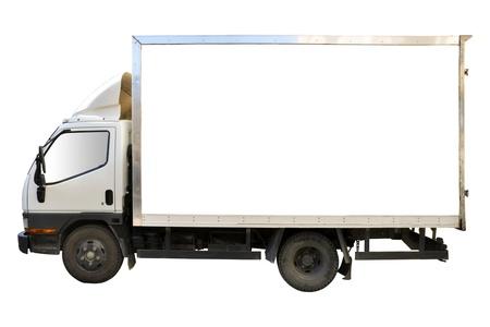 ciężarówka: GÅ'adka biaÅ'a ciężarówka na biaÅ'ym tle