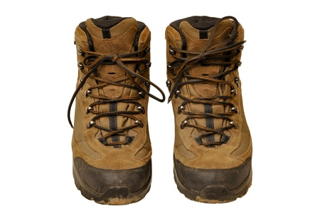 Trekking shoes and a white background Stock Photo - 13791155