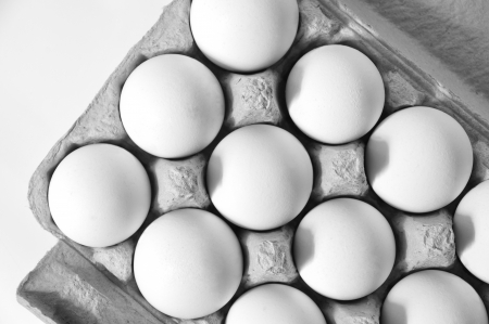 In a cardboard white, fresh, organic eggs photo