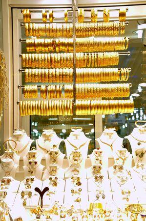 Bracelets on a show window jewelry store photo