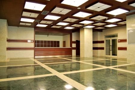 Empty lobby and reception desk photo