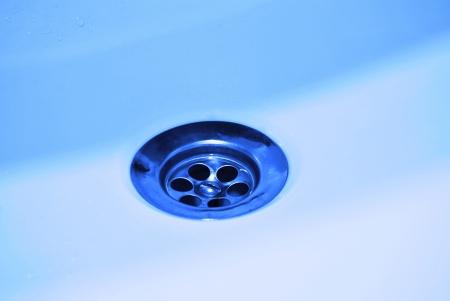 Hole bathtub metallic stainless steel, close up Stock Photo - 18333335