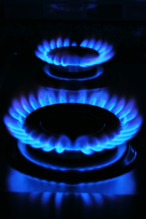 Blue flame of gas over black background Stock Photo - 18683232