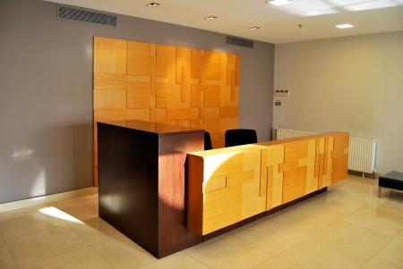 Empty lobby and reception desk