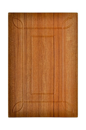 Wooden cabinet door, isolated white background photo