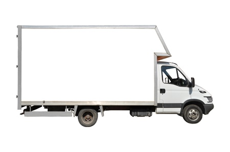 refrigerated: Blank white truck isolated on a white background