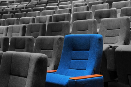 Modern movie theater hall and the blue seats