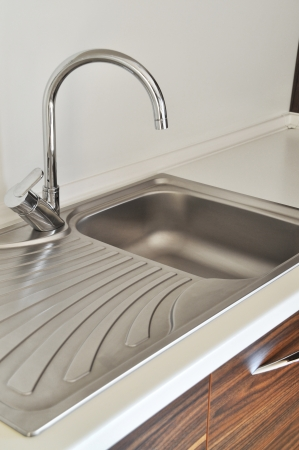 Close-up of a sink in a modern kitchen