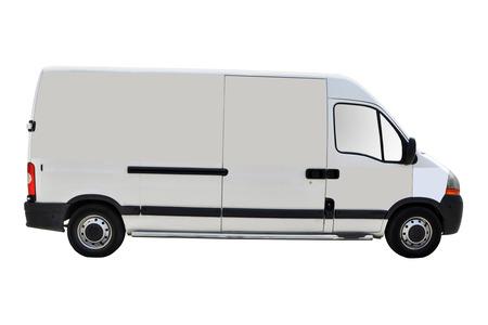 Blanco wit busje geïsoleerd op een witte achtergrond