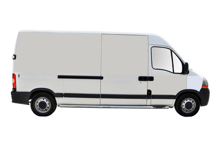 white trim: Blank white van isolated on a white background Stock Photo