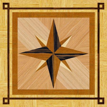 Wood parquet floor, compass pattern photo