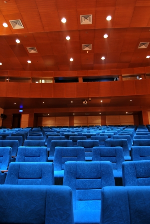 sequential: Modern cinema hall, blue seats Editorial
