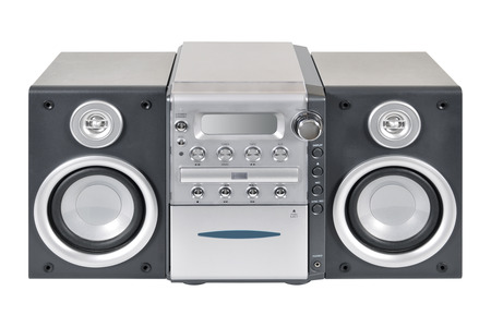 sub woofer: Compact stereo system cd and cassette player with radio isolated on white background