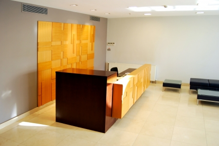Empty lobby and reception desk