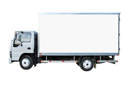 white trim: Blank white truck isolated on a white background