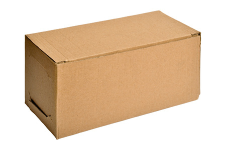 Open cardboard box isolated on a white  photo