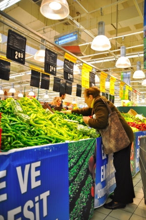 carrefour: Istanbul Maltepe Carrefour has opened a new branch  Greengrocer section Editorial