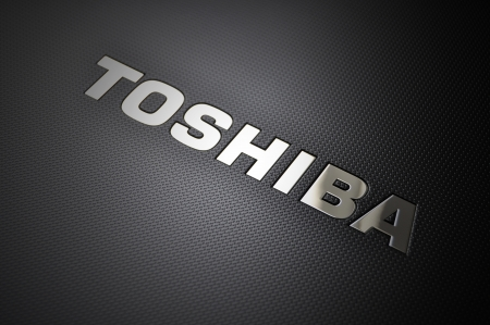 Toshiba laptop logo, chrome metal
