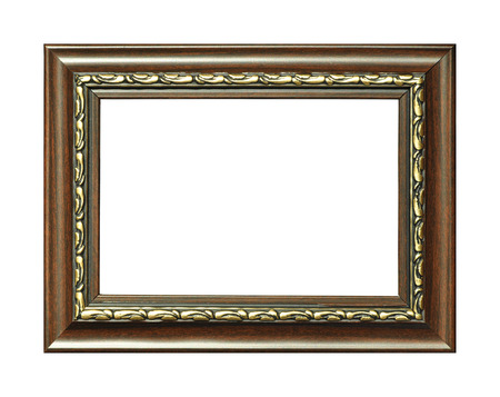 Rectangular wooden frame isolated on a white background photo