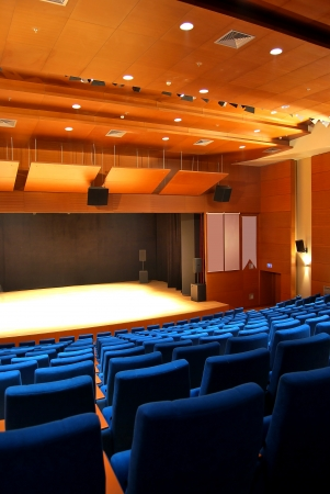 sequential: Modern theater and cinema hall, blue seats Editorial