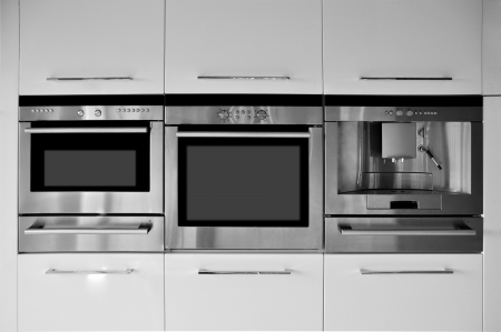 oven range: Modern kitchen cabinets and equipment