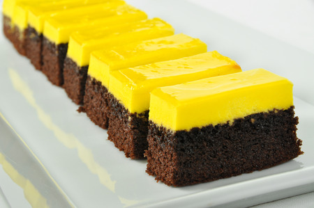 Good looking, delicious and beautiful lemon and chocolate cake Stok Fotoğraf