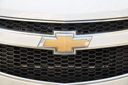 chevrolet: Close-up Chevrolet logo  Chrome metal