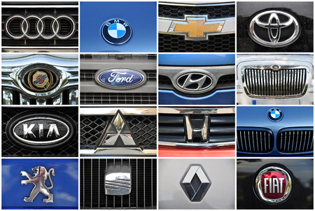 Close-up collage auto logo  Chrome metal