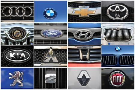 Close-up collage auto logo  Chrome metal