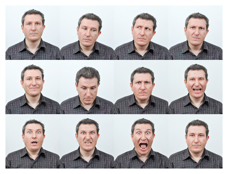 short haired: Short haired young man, and facial expressions Stock Photo