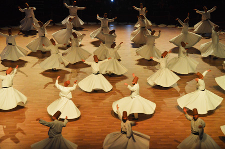 Mevlana dervishes dancing in the museum, Konya. 2014. Sajtókép