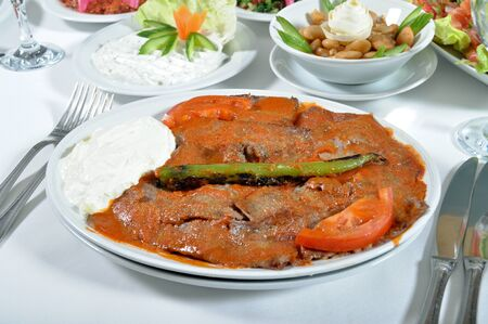 Fine meat is tasty dinner, Turkish iskender kebap Stock fotó