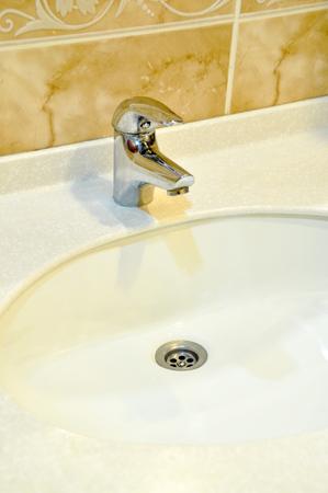 A modern basin mixer tap in a contemporary bathroom photo
