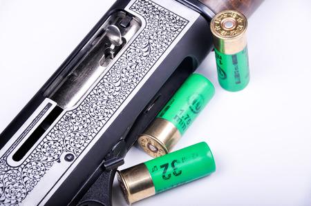 finger on trigger: My detailed images of shotgun Stock Photo