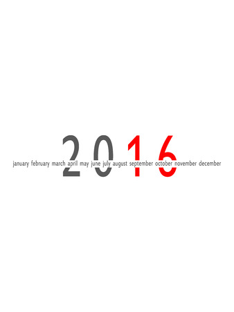 meses del año: 2016 años y meses aislados sobre fondo blanco Foto de archivo