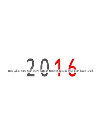 meses del año: 2016 años y meses turcos aislados sobre fondo blanco Foto de archivo