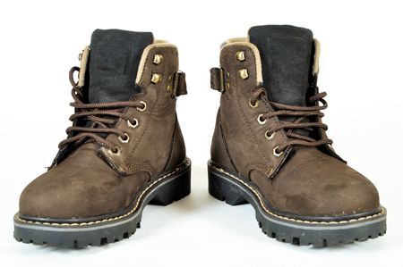 hiking shoes: Hiking shoes and a white background
