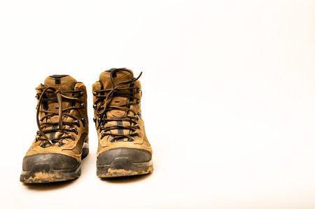 hillwalking: Hiking shoes and a white background