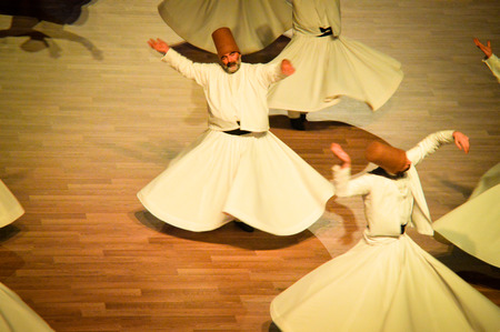 konya: Mevlana dervishes dancing in the museum, Konya. 2014. Editorial