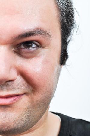 shrewd: Half face portrait of a young man shrewd eye