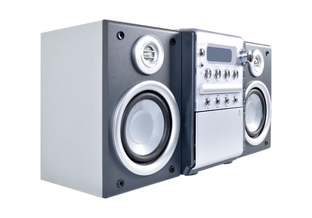 Compact stereo system cd and cassette player with radio isolated on white background