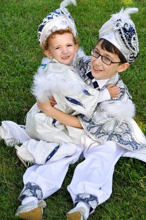 caftan: Turkey to become children circumcised. Children wear costumes sultan before circumcision Stock Photo